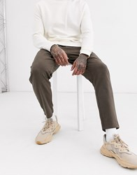 Only And Sons Tapered Fit Herringbone Drawstring Trousers In Grey