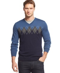 Club Room Big And Tall Merino Blend V Neck Argyle Sweater Shark Eye Heather