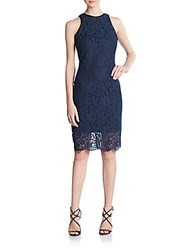 Alexia Admor Faux Leather Trimmed Lace Dress Navy