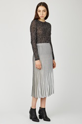 Proenza Schouler Long Pleated Knit Skirt Off White Black