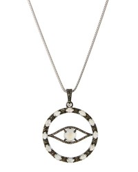 Bavna Long Moonstone And Diamond Evil Eye Pendant Necklace