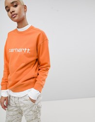 Carhartt Wip Embroidered Sweatshirt Orange