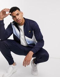 Lyle And Scott Archive Panel Funnel Neck In Navy