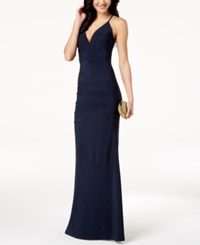 Emerald Sundae Juniors' Lace Back Banded Plunge Gown Navy