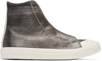 Alexander Mcqueen Silver Leather High Top Sneakers