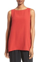 Eileen Fisher Women's Long Bateau Neck Silk Shell Serrano