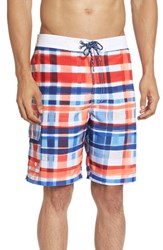 Tommy Bahama Men's 'Baja Cayo Largo Plaid' Swim Trunks Red Cherry