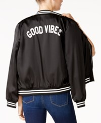 Sub Urban Riot Good Vibes Graphic Bomber Jacket Black White