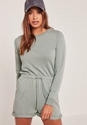 Missguided Blue Jersey Long Sleeve Tie Waist Playsuit