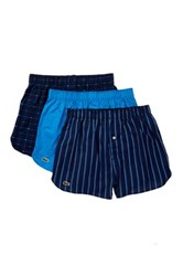 Lacoste Woven Boxer Pack Of 3 Blue