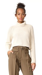 525 America Shaker Turtleneck Bell Sleeve Sweater French Vanilla