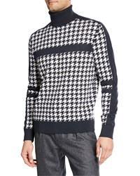 Stefano Ricci Houndstooth Cashmere Turtleneck Sweater Gray