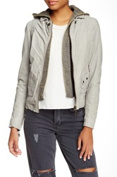 Doma Vintage Hood Moto Leather Jacket Gray