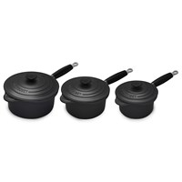 Le Creuset 3 Piece Saucepan Set Black