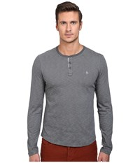 Original Penguin Feeder Stripe Henley Dark Shadow Men's Long Sleeve Pullover Black