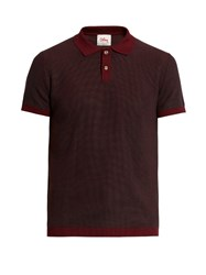 Orley Two Tone Micro Stitched Cotton Polo Shirt Burgundy