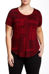 Dex Short Sleeve Round Hem Printed T Shirt Plus Size Red
