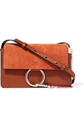 Chloe Faye Small Leather And Suede Shoulder Bag Tan