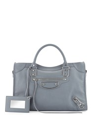 Balenciaga Metallic Edge Nickel City Bag Ice Blue