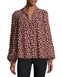 Ba And Sh Collin Button Front Printed Long Sleeve Top Red Pattern