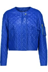 Moschino Quilted Leather Jacket Bright Blue