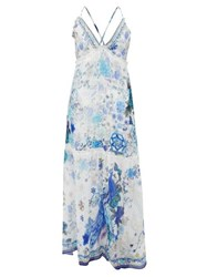 Camilla Beaded Crossover Back Floral Print Silk Maxi Dress Blue White