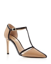 Michael Michael Kors Samantha T Strap Pointed Toe High Heel Pumps Nude Black