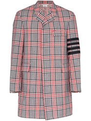 Thom Browne 4 Bar Motif Checked Coat Black