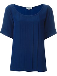 Yves Saint Laurent Vintage Pleated Boxy Top Blue