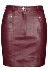 Maroon Leather Pu Skirt By Goldie