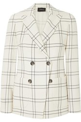 Akris Danita Checked Wool And Cotton Blend Crepe Double Breasted Blazer Ivory