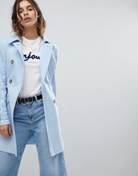 Miss Selfridge Exclusive Belted Mac Sky Blue