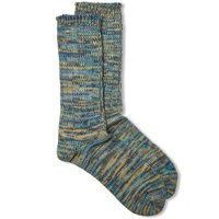 Anonymous Ism Colour Mix Crew Sock Turquoise And Yellow