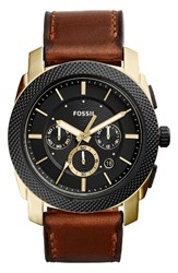 Fossil Men's Machine Chronograph Leather Strap Watch 45Mm Brown Black Gold
