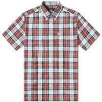 Fred Perry Authentic Short Sleeve Washed Tartan Shirt Blue