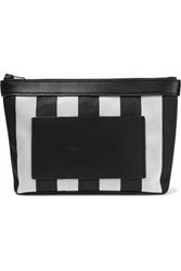 Alexander Wang Leather Paneled Striped Woven Cosmetics Case Black