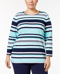 Karen Scott Plus Size Striped Top Only At Macy's Pacific Aqua