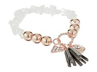 Guess Stretch Bracelet With Logo Button Triangle And Tassel Rose Gold Grey Crystal Bracelet White