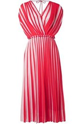 Tome Two Tone Pleated Georgette Dress Red