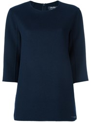 Max Mara 'S Three Quarters Sleeve Knitted Blouse Blue