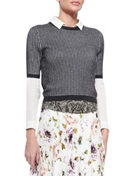 Haute Hippie Patterned Cropped Short Sleeve Sweater Heather Grey Swan