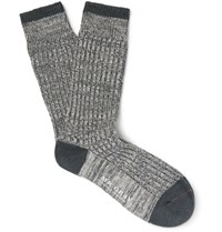 Mr. Gray Marled Stretch Cotton Blend Socks