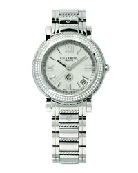 Charriol 33Mm Stainless Steel Medium Parisii Three Hand Diamond Watch