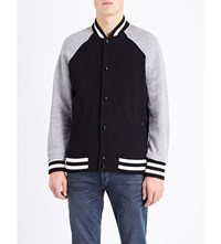 Rag And Bone Arden Cotton Jersey Varsity Jacket Black Grey