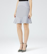 Reiss Ella Womens Textured Fit And Flare Skirt In Blue