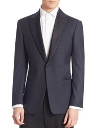 Armani Collezioni Dinner Wool And Silk Jacket Navy