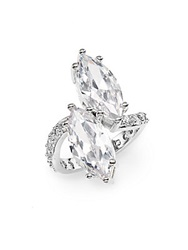 Cz By Kenneth Jay Lane Double Marquise Pave Ring Silver