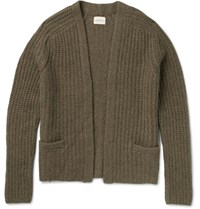 Simon Miller Ribbed Knit Alpaca Blend Cardigan Army Green