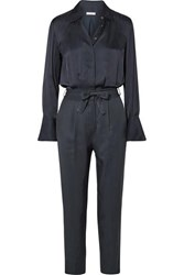Equipment Andrea Belted Washed Satin And Twill Jumpsuit Navy