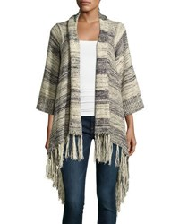 Cirana Fringe Woven Sweater Cardigan Blue